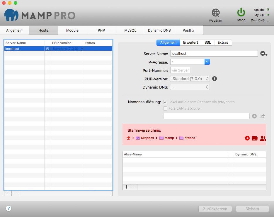 Stammverzeichnis für localhost in der Dropbox