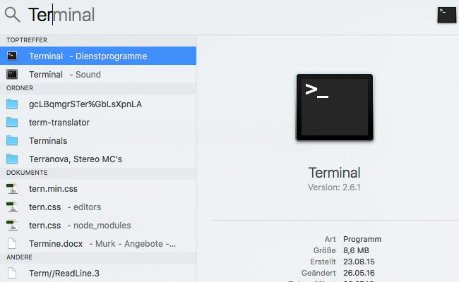 Terminal via Spotlight-Suche öffnen